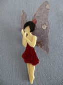 Woodland Butterfly Fairy Brooch by Lea Stein of Paris - this one has a red sparkly frock! (SOLD)